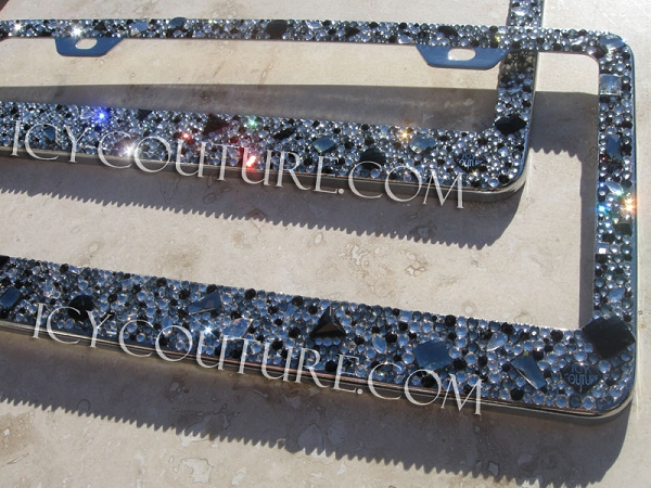 Black Diamond Old Hollywood Crystal License Plate Frame